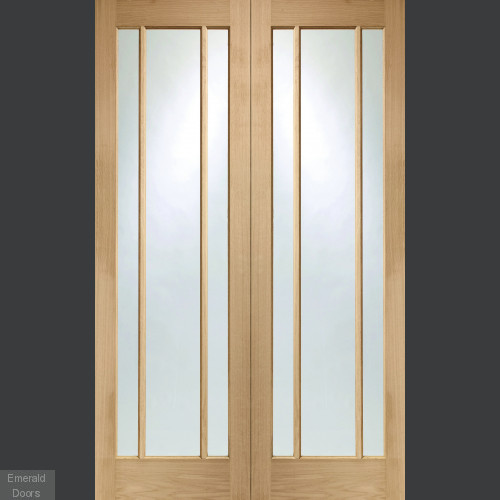 Worcester Oak Custom Made French Doors with Clear Glass