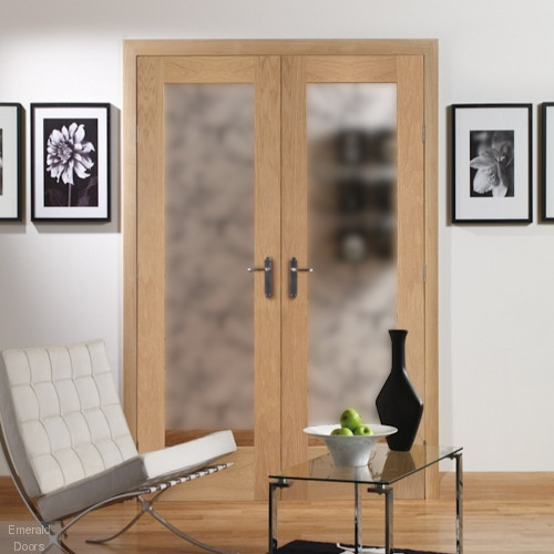 Oak Pattern 10 French Doors with Obscure Glass