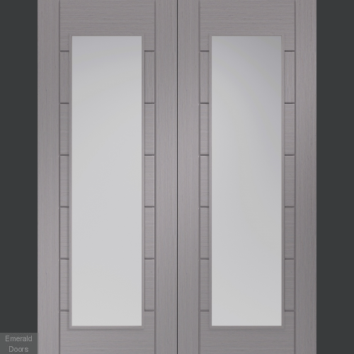 Palermo Light Grey French Doors with Clear Glass