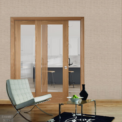 buy oak pattern 10 sliding door system with fixed panel clear glass