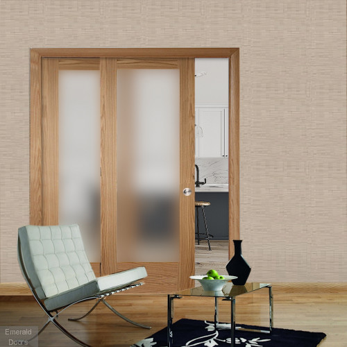 Oak Pattern 10 Sliding Door System with Fixed Panel (obscure glass)
