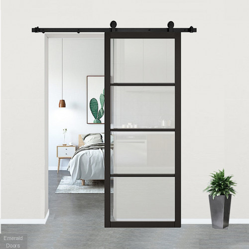 Soho Black Clear Glazed Door with Top Hung Sliding Track
