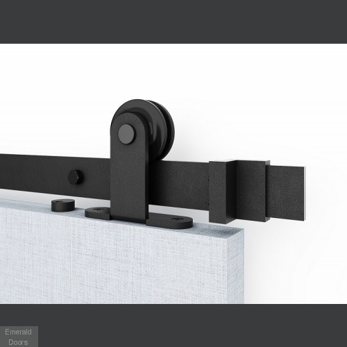 Greenwich Black Clear Glazed Door with Top Hung Sliding Track