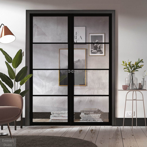 Black Soho 4L Industrial Style Door Pair