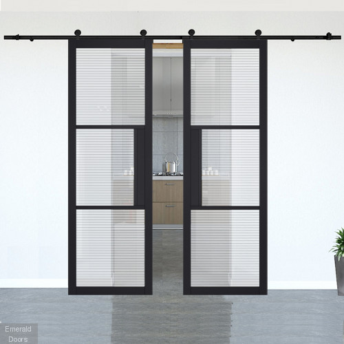 Tribeca Black Reeded Glazed Double Doors with Double Sliding Track