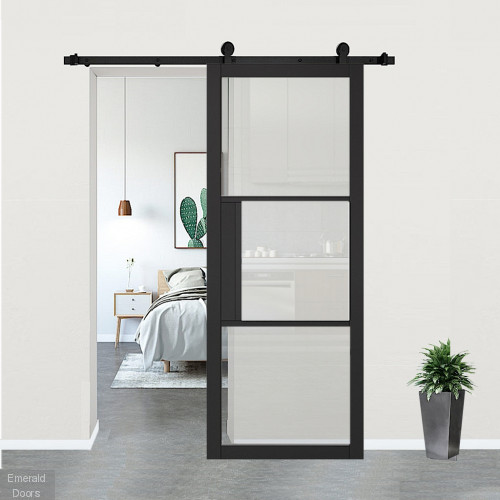 Tribeca Black Clear Glazed Door with Top Hung Sliding Track