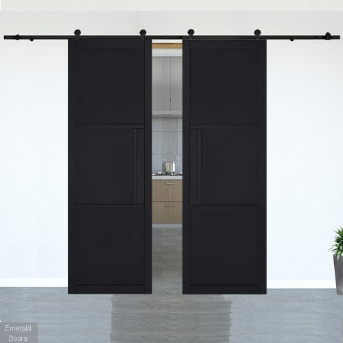 Tribeca Black Clear Glazed Double Doors with Double Sliding Door Track