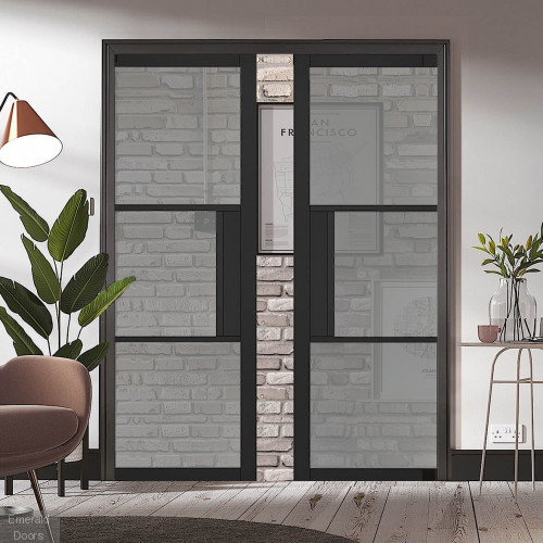 Black Tribeca 3L Tinted Glazed Pocket Door System