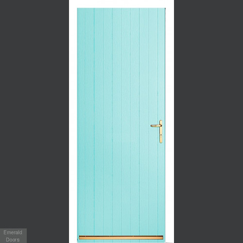 Turquoise Tongue and Groove External Fire Door Set