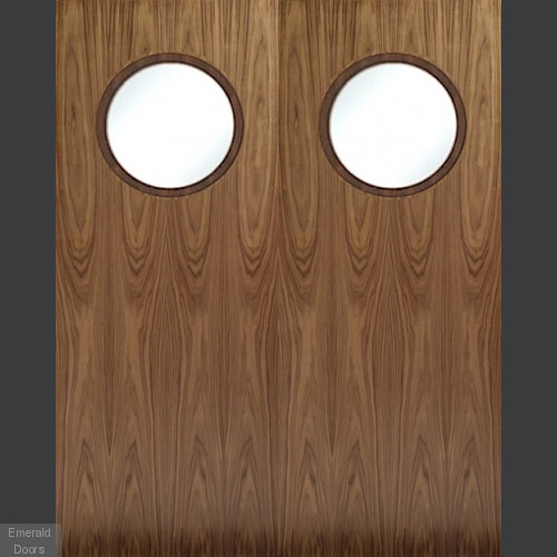 Porthole Walnut Door Pair Custom Made