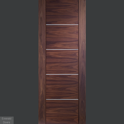 Portici Pre-Finished Walnut Door In Roomset