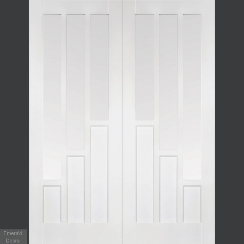 White Coventry French Doors With Clear Glass