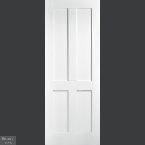 London 4 Panel White Primed Fire Door