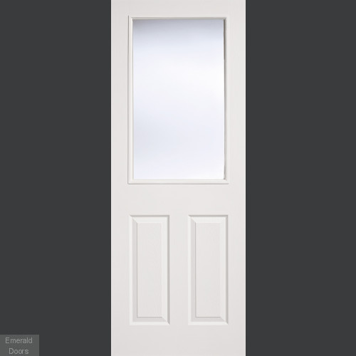 White Moulded 2 Panel 1 Light Internal Door