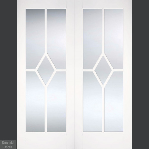 Reims French Doors Primed with Bevelled Glass