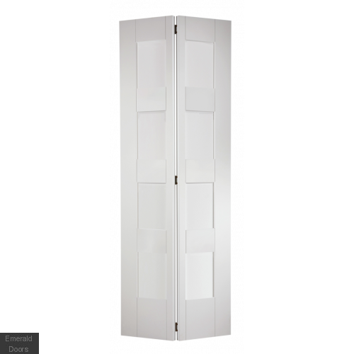 Shaker 4 Light Glazed Bifold Door White Primed