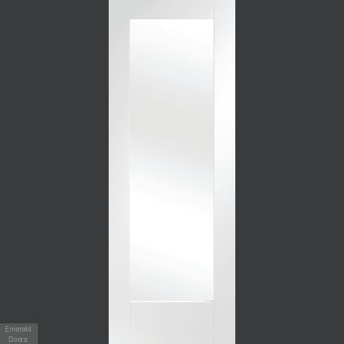 White Pattern 10 Clear Glazed Single Door Room Divider with Side Panel