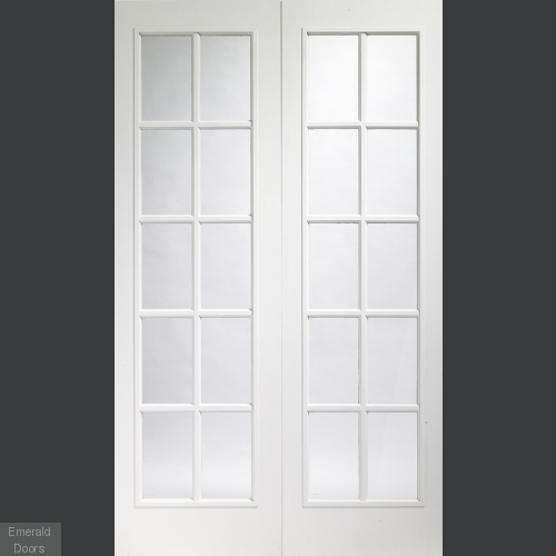 Portobello Pair Internal Pre-Finished White Moulded with Clear Glass