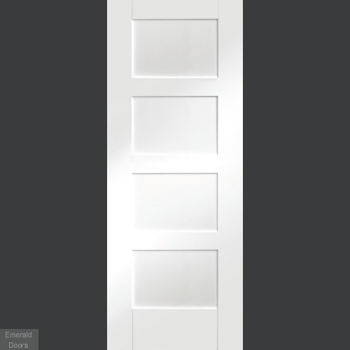 White Shaker 4 Panel Fire Door