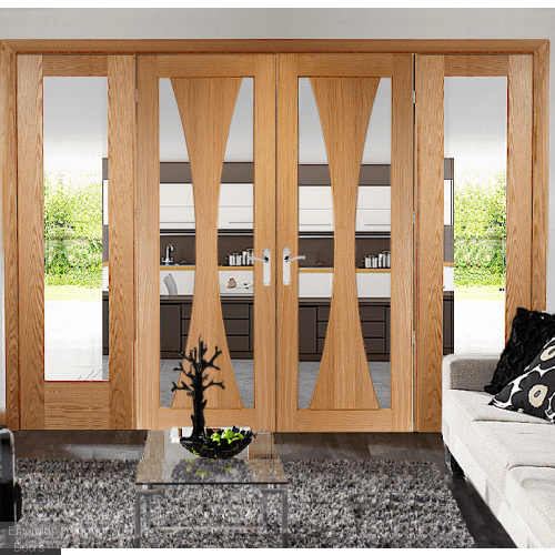 Verona Oak French Door Room Divider With Demi Panels
